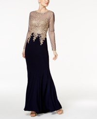 Xscape Evenings Embroidered Mesh Mermaid Gown Navy Gold