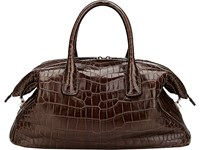 Zagliani Women's Crocodile Tebako Satchel Brown