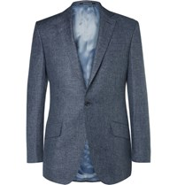 Richard James Blue Slim Fit Slub Linen And Wool Blend Puppytooth Suit Jacket Navy