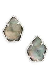 Kendra Scott Women's Tessa Stone Stud Earrings Black Mop Silver