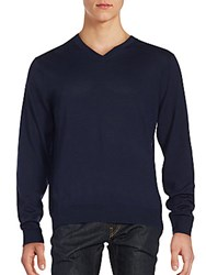 Saks Fifth Avenue V Neck Woolen Sweater Navy