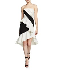 Marchesa Colorblocked Strapless High Low Cocktail Dress Black White