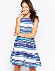 Closet Stripe Skater Dress In Scuba Blue White Black
