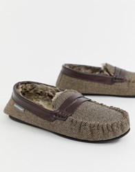 Dunlop Herringbone Mocassin Slipper Brown