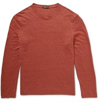 Berluti Slubbed Linen Long Sleeved T Shirt Brick