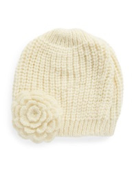 Wooden Ships Knit Flower Beanie White