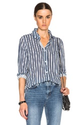 A.P.C. Striped 70S Shirt In Blue Stripes