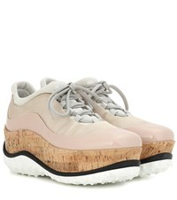 Miu Miu Patent Leather Trimmed Platform Sneakers Neutrals