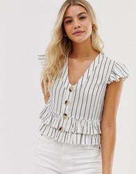 Influence Button Through Top In Natural Stripe White