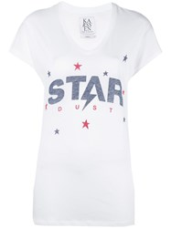 Zoe Karssen 'Star' Print V Neck T Shirt White