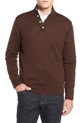 Men's Thomas Dean Merino Wool Sweater Brown