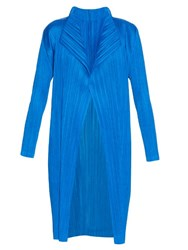 Issey Miyake Open Front Pleated Coat Blue