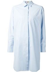 Msgm Loose Fit Shirt Dress Blue
