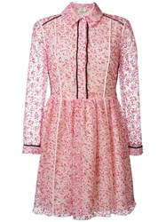 Fendi Floral Embroidered Shirt Dress Pink And Purple