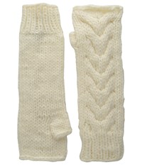 Michael Stars Chunky Cozy Fingerless Gloves Chalk Extreme Cold Weather Gloves White