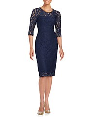 T Tahari Riley Floral Lace Dress Navy