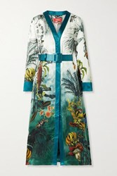 F.R.S For Restless Sleepers Clizio Belted Printed Silk Satin Midi Dress Turquoise