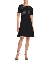 Nue By Shani Lace Trim Short Sleeve Fit And Flare Dress Black Nude