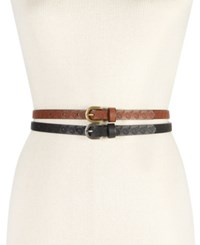 Inc International Concepts Embossed Flower 2 For 1 Skinny Belts Only At Macy's Black Cognac