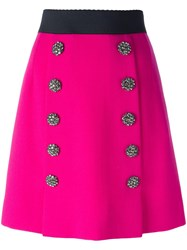 Dolce And Gabbana Jewel Buttoned A Line Skirt Pink Purple