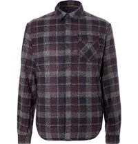 Aztech Mountain Lodge Peak Checked Wool Blend Flannel And Quilted Shell Overshirt Gray