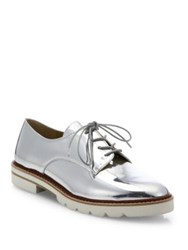 Stuart Weitzman Metro Metallic Leather Oxfords Silver