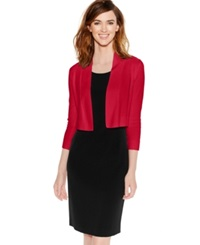 Calvin Klein Long Sleeve Open Cropped Cardigan Red