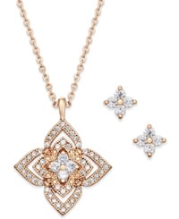 Charter Club Rose Gold Tone Pave Star Pendant Necklace And Stud Earrings Set Only At Macy's