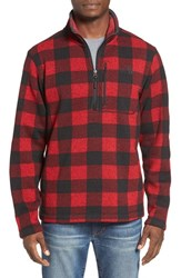The North Face Men's Novelty Gordon Lyons Plaid Pullover Cardinal Red Grizzly Prnt