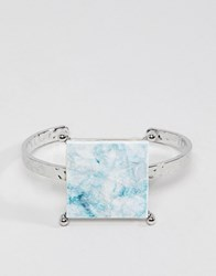 Asos Cuff Bracelet With Coloured Marble Effect Recycled Cotton Stone Silver
