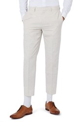 Topman Men's Skinny Fit Marled Suit Trousers Stone