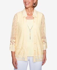 Alfred Dunner Petite Mesh Layered Look Top Butter