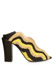 Fendi Wave Foldable Heel Raffia Pumps Yellow Stripe