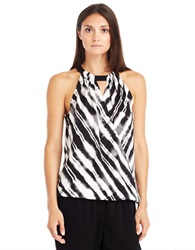 Kenneth Cole Camila Abstract Stripe Surplice Blouse Black Multi
