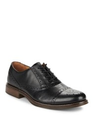 G.H. Bass Woolfe Perforated Cap Toe Leather Oxfords Black