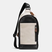 Coach Manhattan Sling Pack In Mixed Leather Qb Chalk Black