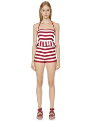 Red Valentino Striped Beach Cotton Halter Jumpsuit