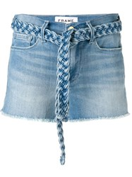 Frame Braided Belt Jean Shorts Blue