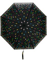 Moschino Multicoloured Logo Umbrella Black