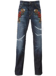 Dolce And Gabbana Floral Embroidery Jeans Blue