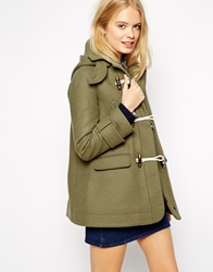 Asos Duffle Coat With Swing Shape In Wool Twill Olive