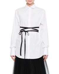 Valentino Hidden Placket Wrap Belt Tunic White