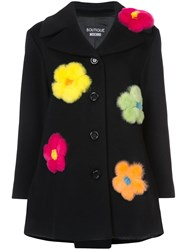 Boutique Moschino Single Breasted Flower Coat Rabbit Fur Acetate Cupro Virgin Wool Black