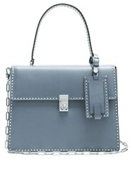 Valentino Rockstud Spike Leather Tote Mid Grey