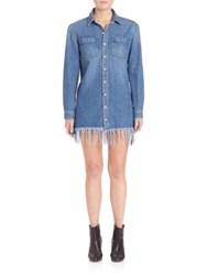 3X1 Fringe Shirt Dress Marine Private