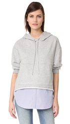 3.1 Phillip Lim Combo French Terry Hoodie Grey Melange