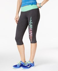 Material Girl Active Juniors' Cropped Graphic Print Leggings Only At Macy's Heather Charcoal