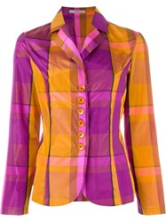 Etro Checked Blazer Yellow And Orange