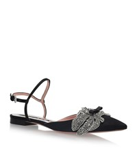 Rochas Floral Embellished Pointed Flats Female Black