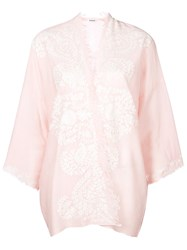 P.A.R.O.S.H. Embroidered Cashmere Cardigan Pink And Purple